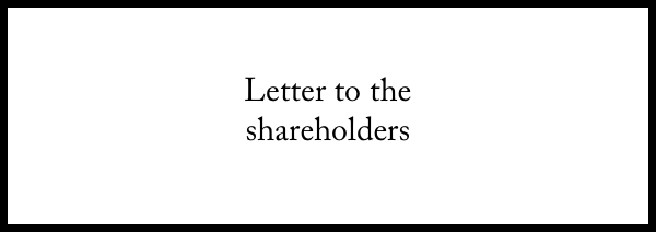 Letter to the shareholders